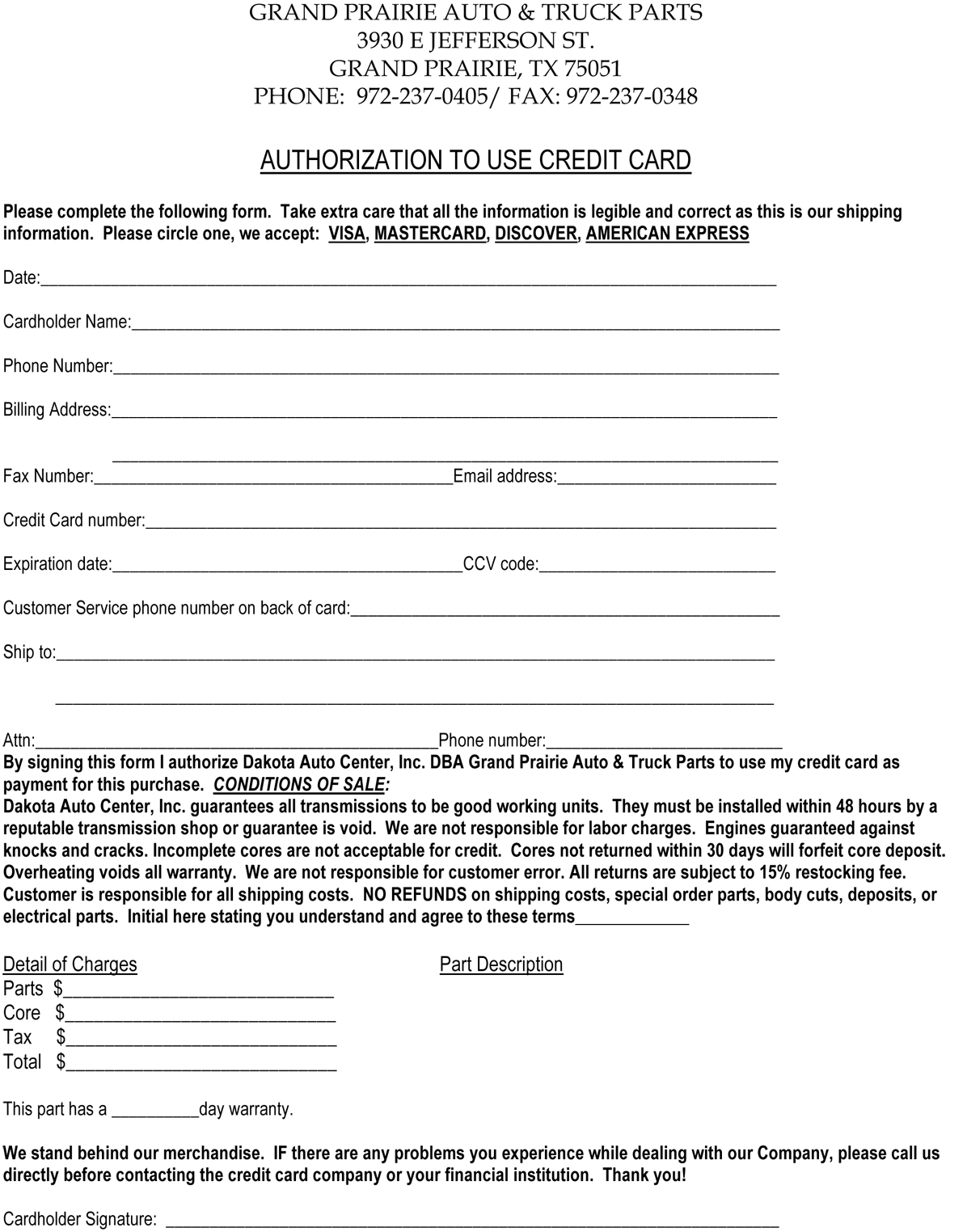 Credit Card Form